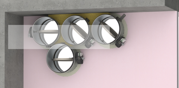 Fire dampers installed at a minimal distance from another damper or from an adjacent supporting construction